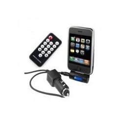 TRANSMETTEUR FM NOIR + CHARGEUR 12 V + TÉLÉCOMMANDE POUR IPHONE ET IPOD